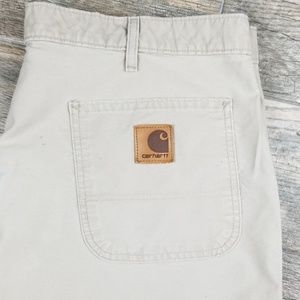 Carhartt tan shorts pockets front and back